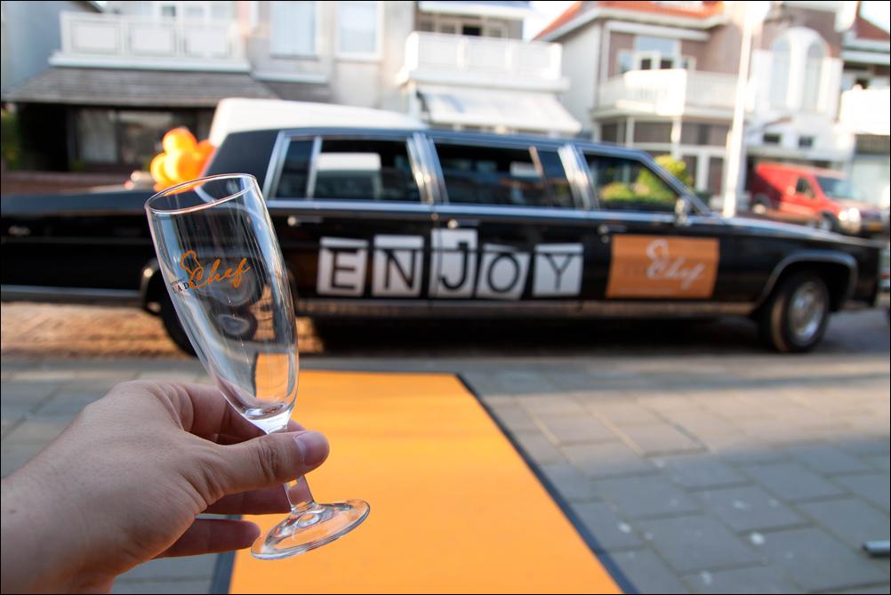 Een drie gangen menu met kreeft, een oranje loper en limousine